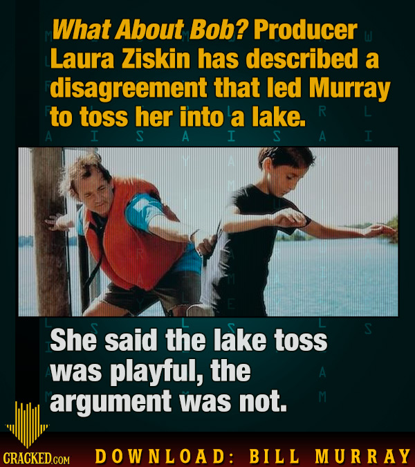 What About Bob? Producer Laura Ziskin has described a disagreement that led Murray to toss her into a lake. R A I S A I S A I She said the lake toss w
