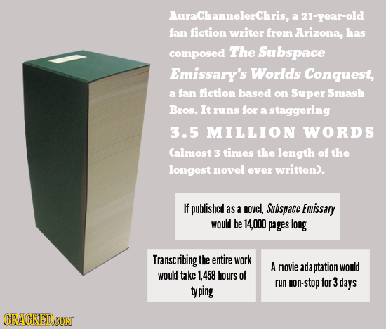 AuraChannelerChris, a 21-year-old fan fiction writer from Arizona, has composed The Subspace Emissary's Worlds Conquest, fan fiction based a on Super