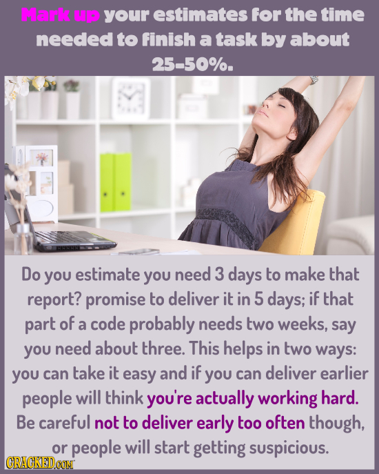 Mark UP your estimates for the time needed to finish a task by about 25-50%. Do you estimate yOU need 3 days to make that report? promise to deliver i
