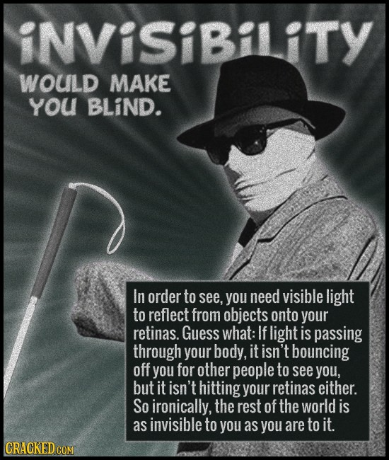 iNVISiBiliTY wouLd MAKE you BLiND. In order to see, you need visible light to reflect from objects onto your retinas. Guess what: If light is passing