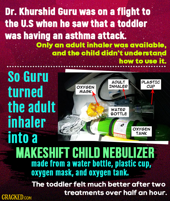 Dr. Khurshid Guru was on a flight to the U.S when he saw that a toddler was having an asthma attack. Only an adult inhaler was available, and the chil