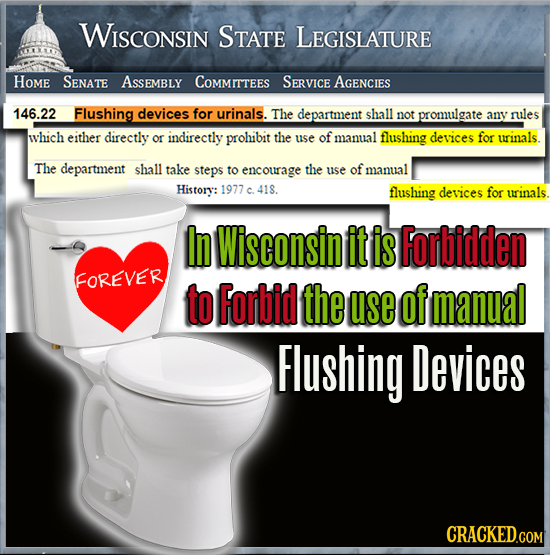 WISCONSIN STATE LEGISLATURE HOME SENATE ASsEMBLY COMMITTEES SERVICE AGEnCIES 146.22 Flushing devices for urinals. The department shall not promulgate