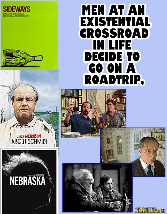 SIDEWAYS MEN AT AN ERr ne ELECTIONNNABOUT SOHUNOT EXISTENTIAL CROSSROAD IN LIFE DECIDE TO GO ON A ROADTRIP. JACK NICHOLSON ABOUT SCHMIDT AUNE PONE NEB