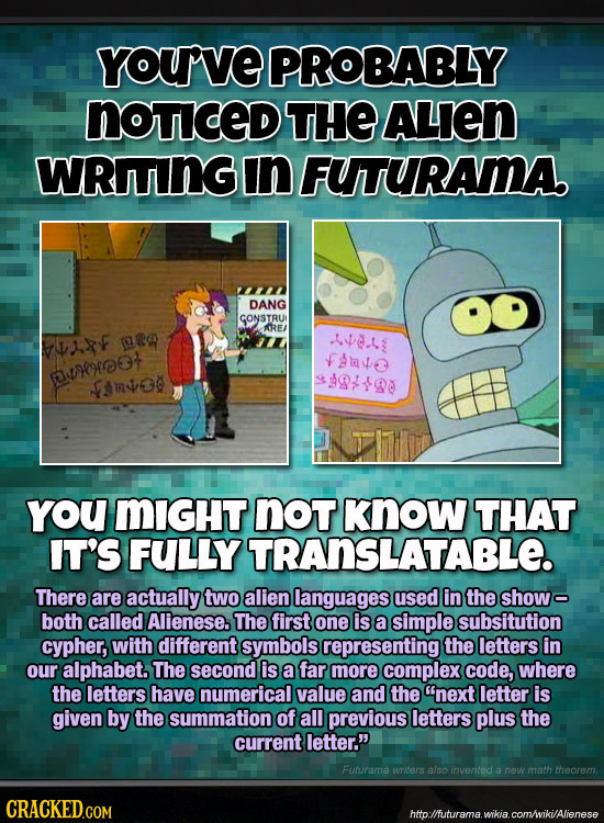 YOUVE PROBABLY NoTICED THE ALIEN WRITING In FUTURAMA DANG GONSTRU AREA Ra 4se. F VAuvse asrreot o190 n$O0 you MIGHT nOT Know THAT IT'S FULLY TRANSLATA
