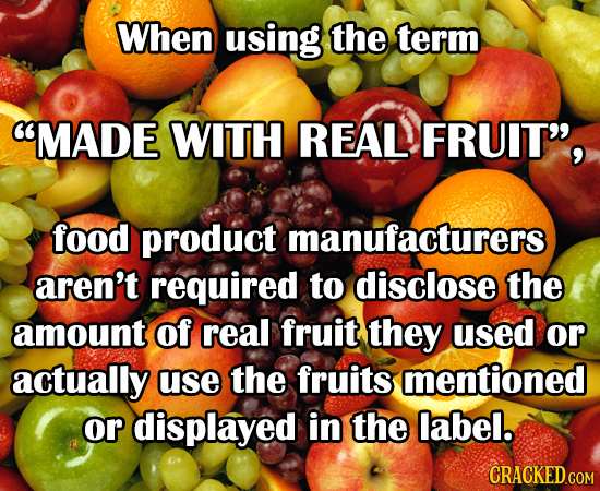 When using the term MADE WITH REAL FRUIT, food product manufacturers aren't required to disclose the amount of real fruit they used or actually use