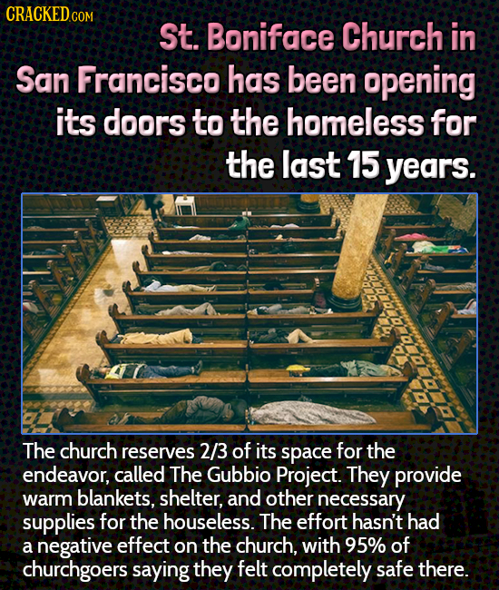CRACKEDc COM St. Boniface Church in San Francisco has been opening its doors to the homeless for the last 15 years. The church reserves 2/3 of its spa