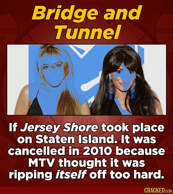Bridge and Tunnel 5.75 3.001 If Jersey Shore took place on Staten Island. It was cancelled in 2010 because MTV thought it was ripping itself off too h