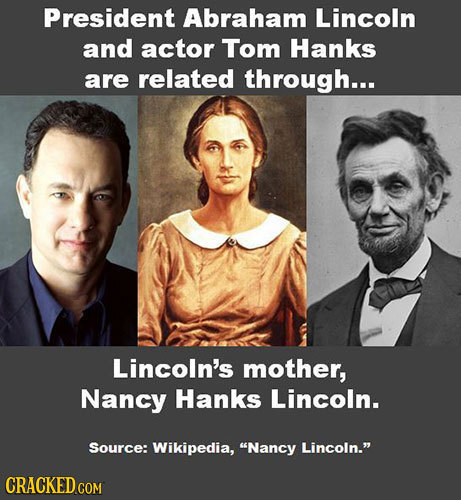 President Abraham Lincoln and actor Tom Hanks are related through... Lincoln's mother, Nancy Hanks Lincoln. Source: Wikipedia, Nancy Lincoln. CRACKE