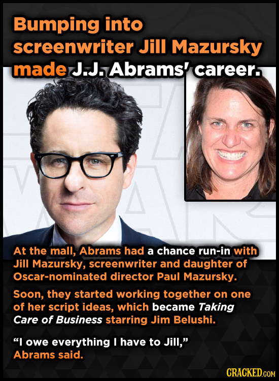 Bumping into screenwriter Jill Mazursky made J.J. Abrams' careers At the mall, Abrams had a chance run-in with Jill Mazursky, screenwriter and daughte