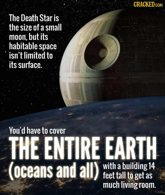 CRACKEDCO The Death Star is the size of a small moon, but its habitable space isn't limited to its surface. You'd have to cover THE ENTIRE EARTH (ocea