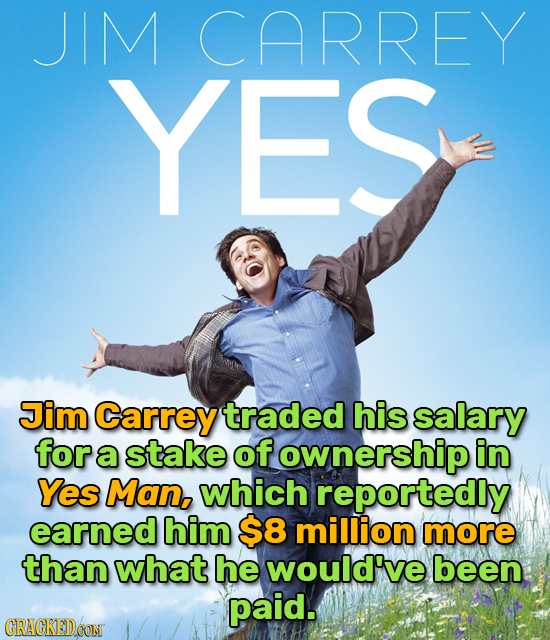 JIM CARREY YES Jim Carrey traded his salary for a stake of ownership in Yes Man, which reportedly earned him $8 million more than what he would've bee