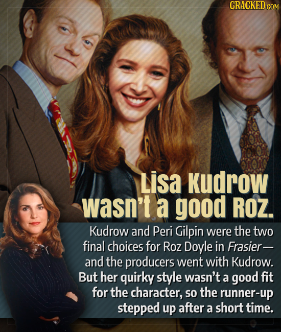 CRACKED COM Lisa Kudrow wasn't a good ROZ. Kudrow and Peri Gilpin were the two final choices for Roz Doyle in Frasier- and the producers went with Kud