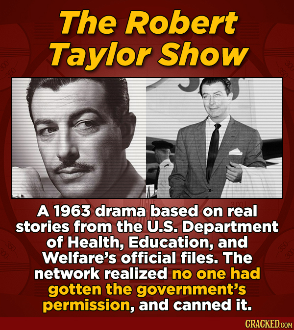 The Robert Taylor Show A 1963 drama based on real stories from the U.S. Department of Health, Education, and Welfare's official files. The network rea