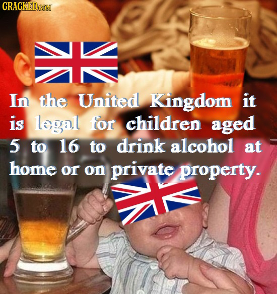 CRACKEDCO In the United Kingdom it is legal for children aged 5 to 16 to drink alcohol at home or on private property.