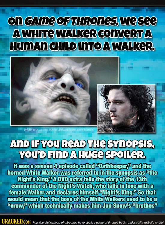on GAME OF THRONES, We see A WHITE WALKER CONVERTA HumAn CHILD INTO A WALKER. Whieh tells Us that Whito Walkers Were oncehuman AND IF YoU READ THE SYN