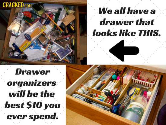 CRACKED c COM We all have a drawer that looks like THIS. lokfo Drawer organizers OLLLLI will be the best $10 you ZA ever spend.