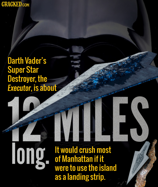 Darth Vader's Super Star Destroyer, the Executor, is about IVILES L long. It would crush most of Manhattan if it were to use the island as a landing s