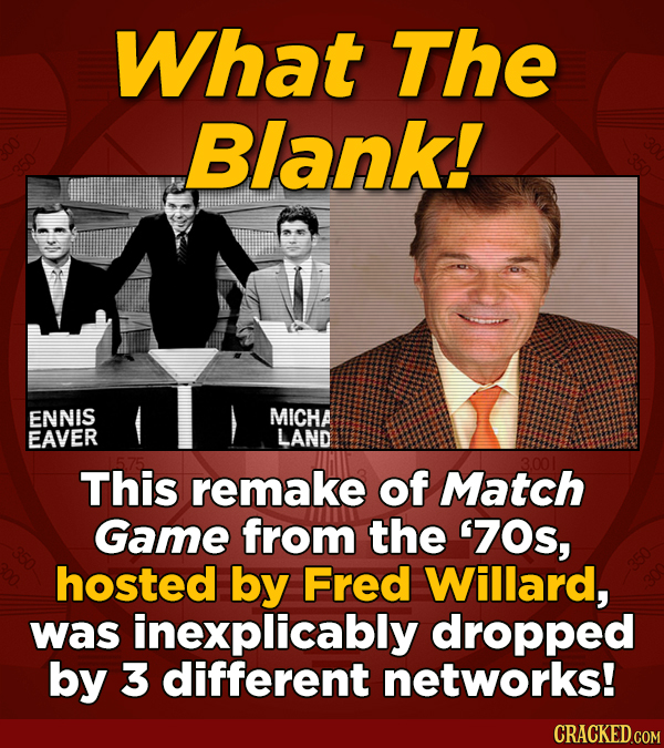 What The Blank! ENNIS MICHA EAVER LAND This remake of Match Game from the '70s, hosted by Fred Willard, was inexplicably dropped by 3 different networ