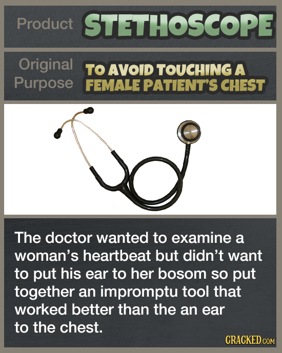 Product STETHOSCOPE Original TO AVOID TOUCHING A Purpose FEMALE PATIENT'S CHEST The doctor wanted to examine a woman's heartbeat but didn't want to pu