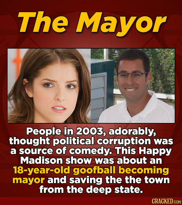 The Mayor People in 2003, adorably, thought political corruption was a source of comedy. This Happy Madison show was about an 18-year-old goofball bec