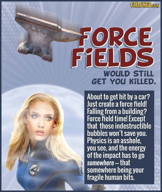 OUS FORCE FIELDS WOULD STiLL GET YoU KiLLED. About to get hit by a car? Just create a force field! Falling from a building? Force field time! Except t