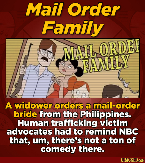 Mail Order Family MAIL ORDEF FAMILY A widower orders 3.001 a mail-order bride from the Philippines. Human trafficking victim advocates had to remind N