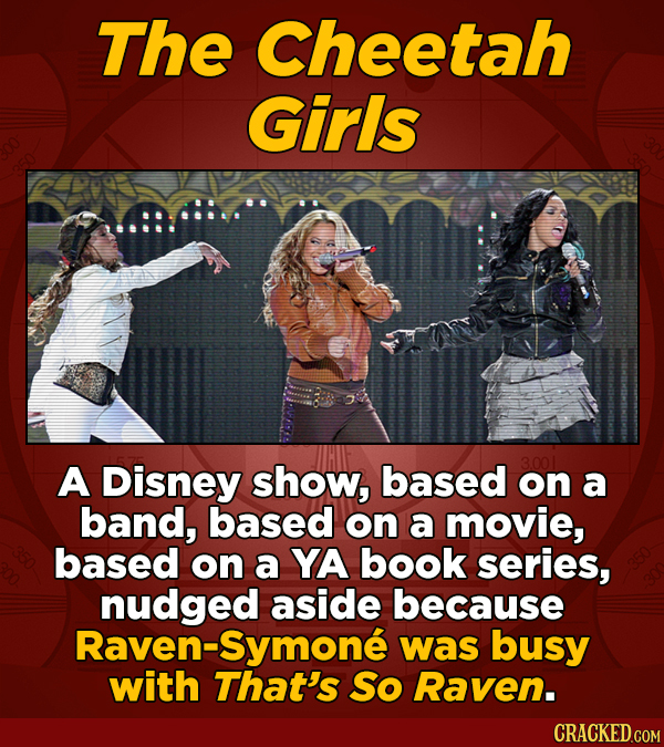 The Cheetah Girls A Disney show, based on a band, based on a movie, based on a YA book series, nudged aside because Raven-Symone was busy with That's