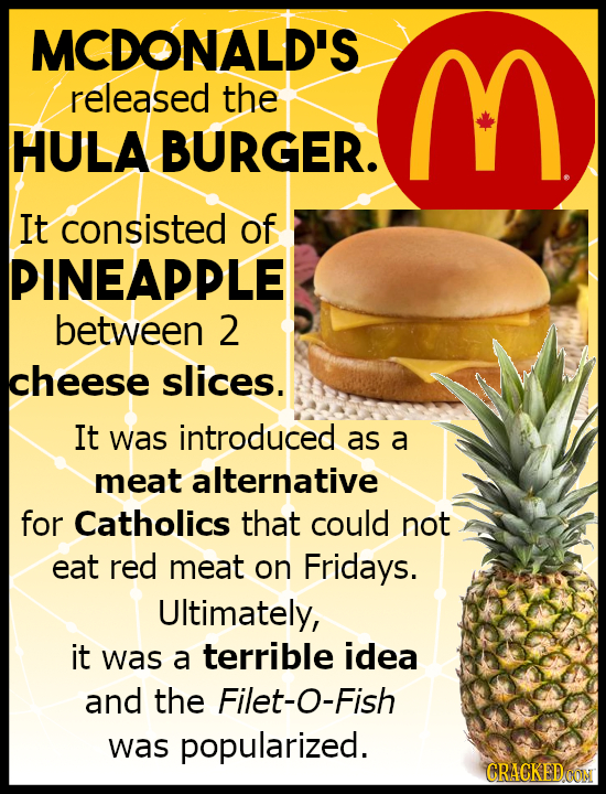 MCDONALD'S released the M HULA BURGER. It consisted of PINEAPPLE between 2 cheese slices. It was introduced as a meat alternative for Catholics that c