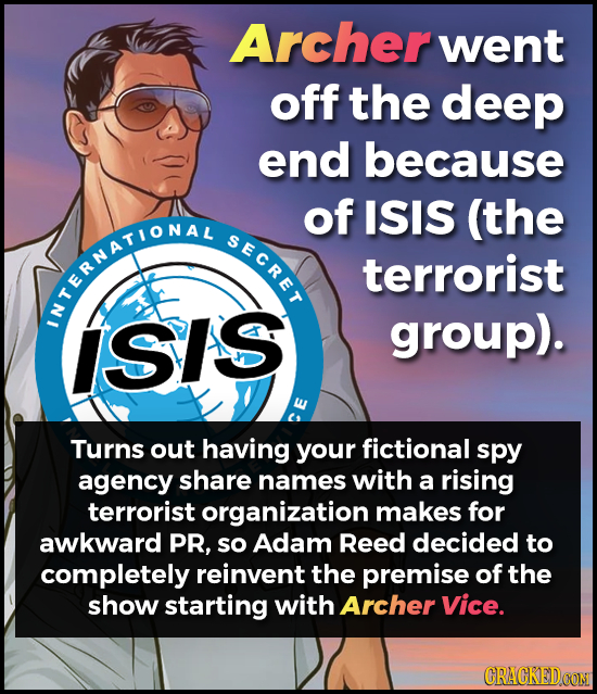 Archer went off the deep end because of ISIS (the SECRET terrorist KTERNAT'ONAL ISIS group). we Turns out having your fictional spy agency share names
