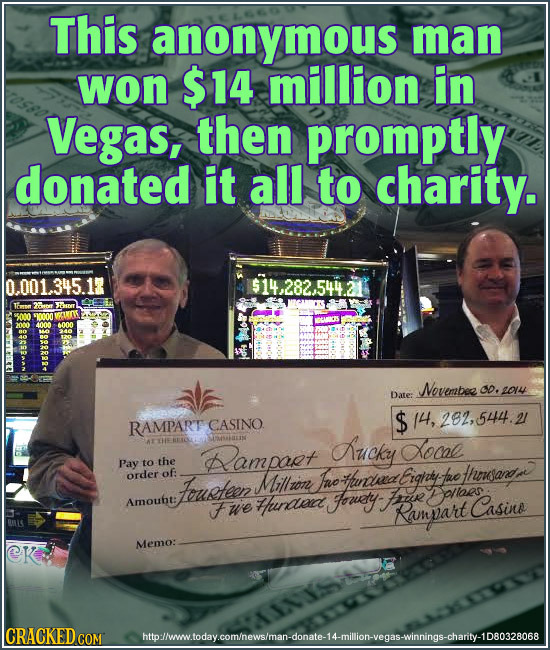 This anonymous man won $14 million in Vegas, then promptly donated it all to charity. 0.001.345.1 Taron Novembee Co, 2014 Date: CASINO $ 14, 282,544.2