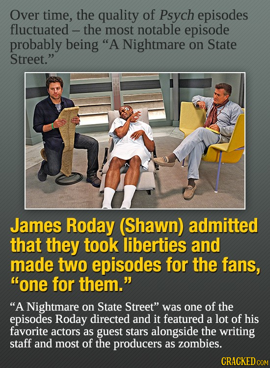 Over time, the quality of Psych episodes fluctuated -the most notable episode probably being A Nightmare on State Street. James Roday (Shawn) admitt