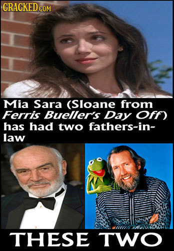 CRACKEDCO COM Mia Sara (Sloane from Ferris Bueller's Day Off) has had two fathers-in- law THESE TWO