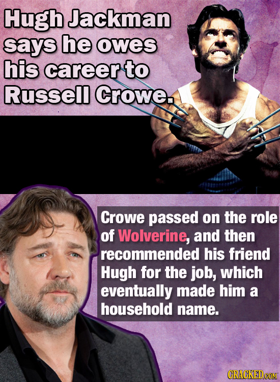 Hugh Jackman says he owes his career to Russell Crowe Crowe passed on the role of Wolverine, and then recommended his friend Hugh for the job, which e