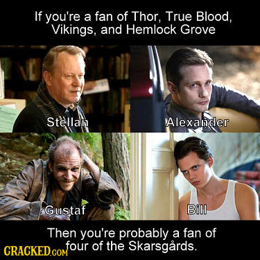 If you're a fan of Thor, True Blood, Vikings, and Hemlock Grove Stellan Alexanider Gustaf Bill Then you're probably a fan of four of the Skarsgards. C