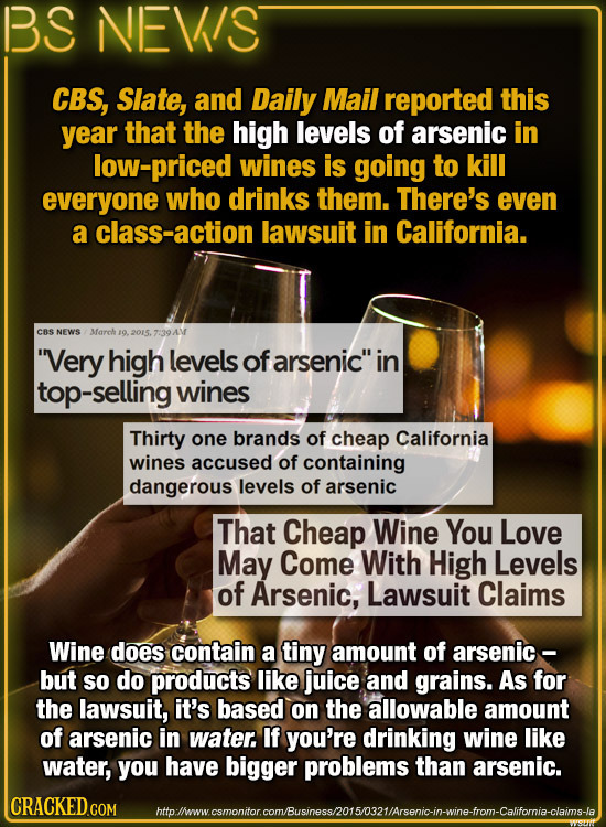 BS NEVIS CBS, Slate, and Daily Mail reported this year that the high levels of arsenic in low-priced wines is going to kill everyone who drinks them.