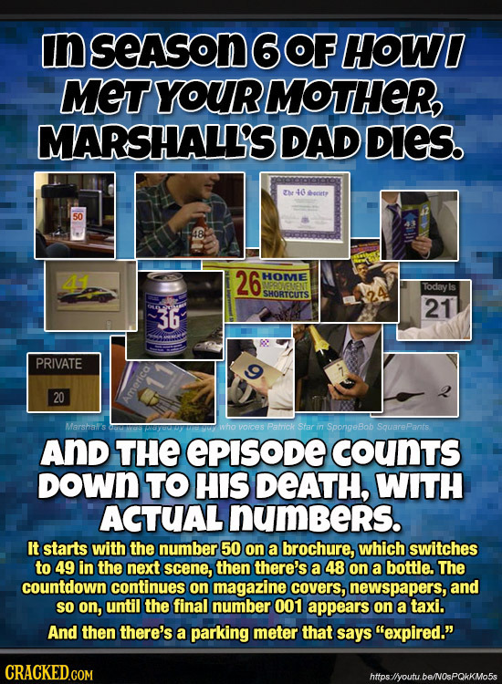In SeASON6OF HOWI MET YOUR MOTHER, MARSHALL'S DAD DIES. Che 46 beriety 50 44 26 HOMVE Today SHORTCUTS 21 36 C PRIVATE 20 America Marshal's wha voices