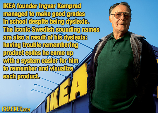 IKEA founder Ingvar Kamprad managed to make good grades in school despite being dyslexic. The iconic Swedish sounding names are also a result of his d