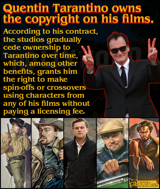 Quentin Tarantino owns the copyright on his films. According to his contract, the studios gradually cede ownership to Tarantino over time, which, amon