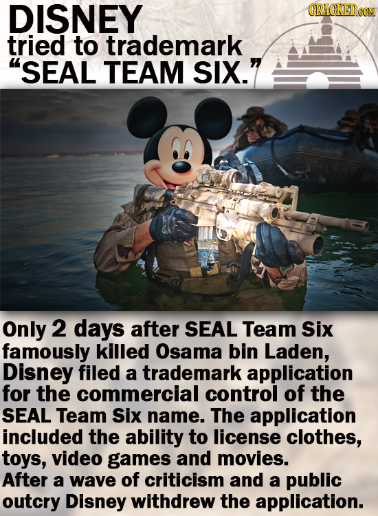 DISNEY GRACKED tried to trademark SEAL TEAM SIX. Only 2 days after SEAL Team Six famously killed Osama bin Laden, Disney filed a trademark applicati