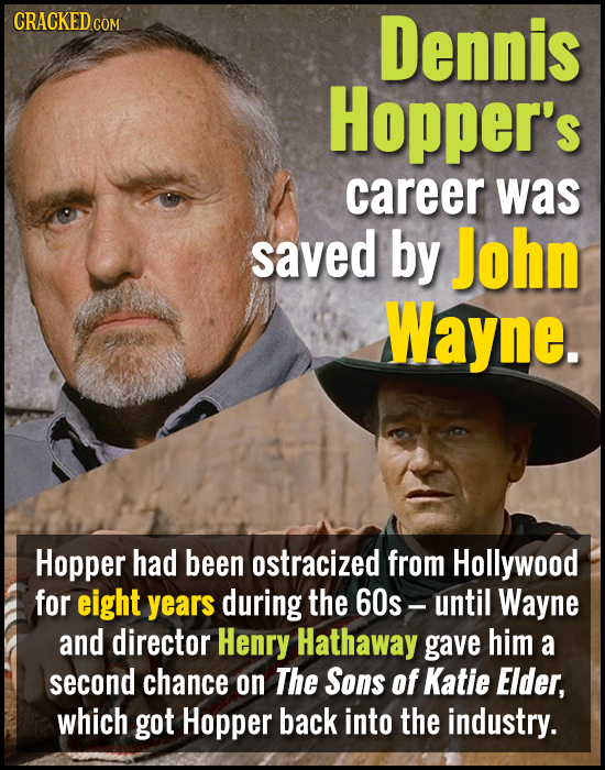 CRACKED COM Dennis Hopper's career was saved by John Wayne. Hopper had been ostracized from Hollywood for eight years during the 60s - until Wayne and