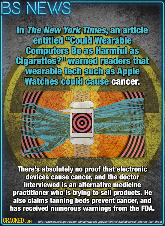 BS NEWS In The New York Times, an article entitled Could Wearable Computers Be as Harmful as Cigarettes? warned readers that wearable tech such as A
