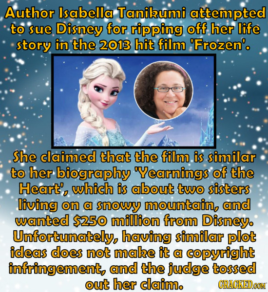 Author Isabella Tanibumi attempted to sue Disney for ripping off her life story in the 2013 hit film 'Frozen'. She claimed that the film is similar to