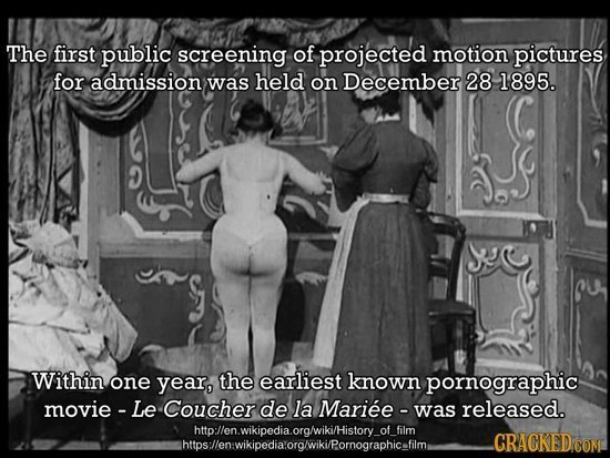 The first public screening of projected motion pictures for admission was held on December 28 1895. Within one year, the earliest known pornographic m