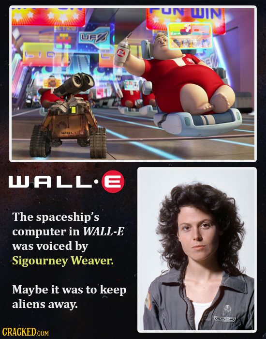 UN WIN TRO UEI WALL.E The spaceship's computer in WALL-E was voiced by Sigourney Weaver. Maybe it was to keep aliens away.