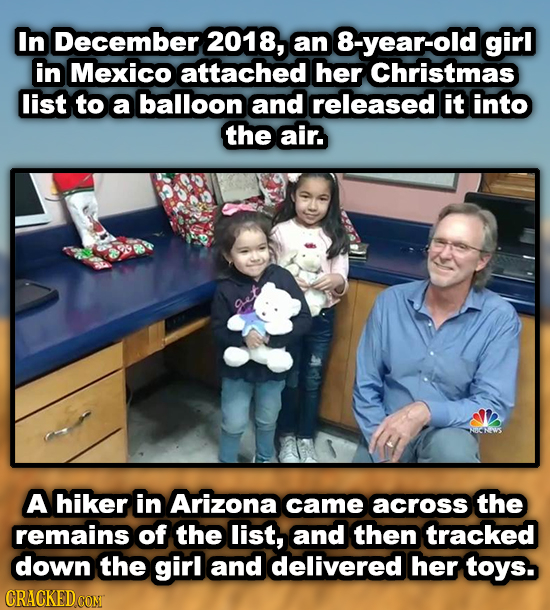 In December 2018, an 8-year-old girl in Mexico attached her Christmas list to a balloon and released it into the air. A hiker in Arizona came across t