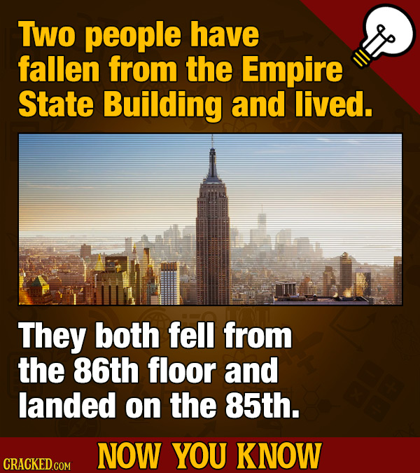 To people have fallen from the Empire State Building and lived. They both fell from the 86th floor and landed on the 85th. NOW YOU KNOW
