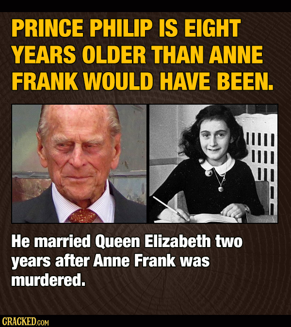 PRINCE PHILIP IS EIGHT YEARS OLDER THAN ANNE FRANK WOULD HAVE BEEN. He married Queen Elizabeth two years after Anne Frank was murdered. CRACKED.COM