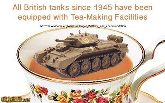 AllL British tanks since 1945 have been equipped with Tea-Making Facilities mopllenwkipodaorglkichalngw.2wcaow.and.accommodation CRACRED.OOM