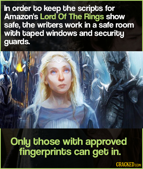 In order to keep the scripts for Amazon's Lord Of The Rings show safe, tHE writers work in a safe room with taped windows and security guards. Only th