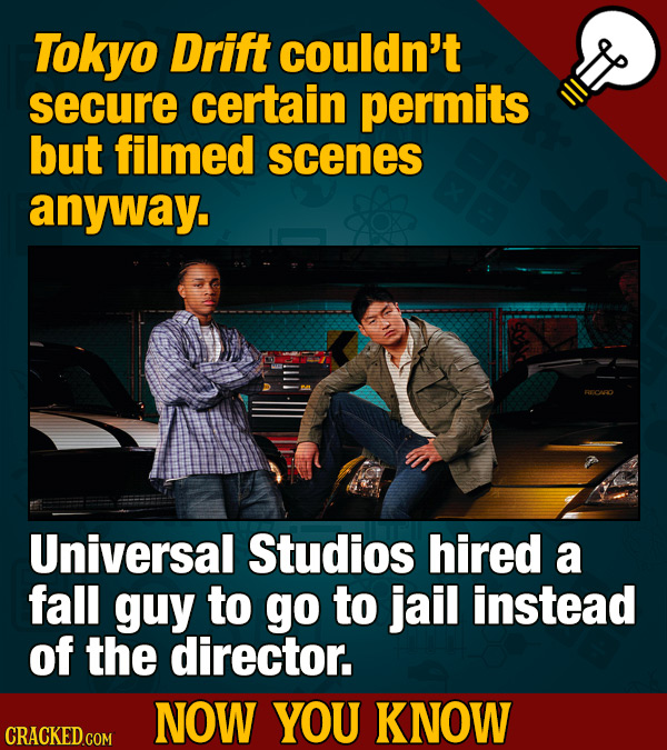 Tokyo Drift couldn't secure certain permits but filmed scenes anyway. Universal Studios hired a fall guy to go to jail instead of the director. NOW YO